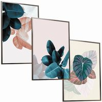 ZESTAW 3 x OBRAZÓW w ramie plakaty NIEBIESKIE RÓŻOWE liście natura