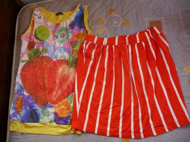 Новая юбка + яркая маечка-клубничка