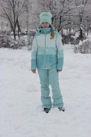 Женский зимний горнолыжный комбинезон куртка и штаны кофта флисовая