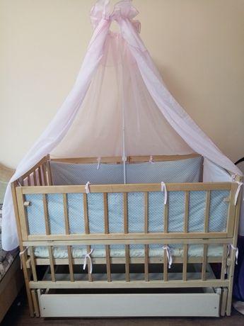Кроватка маятник +балдахін, матрас та защита