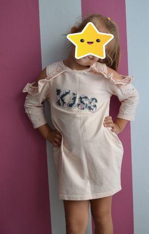 Śliczna sukienka tunika Mała Mi perełki bawełniana r. 128/ 134