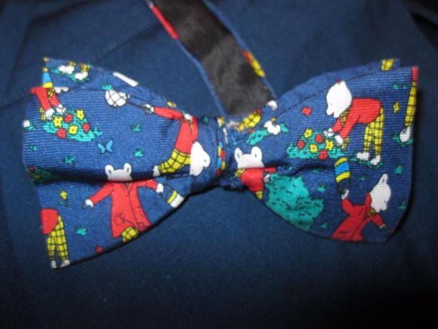 мальчику бабочка - галстук детская двойная с мишками синяя КАК НОВАЯ