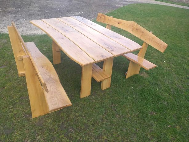 zestaw ławki i stolik ogrodowy jesionowy, ławka, stół, grilowy, altana