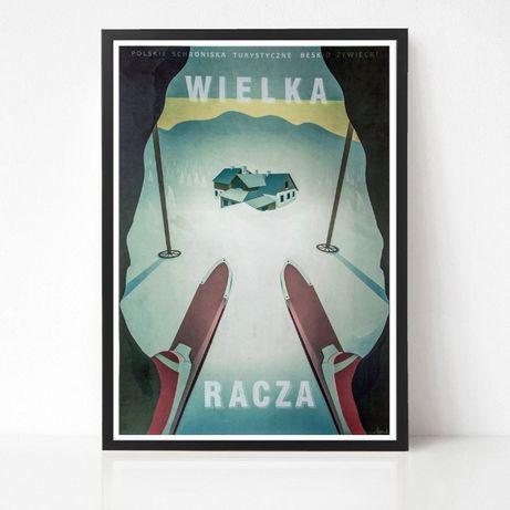 Plakat Wielka Racza - narty - skitury - zima - Beskidy - góry
