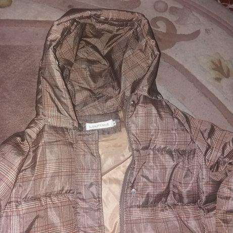 Куртка XL курточка длинная синтепон в клетку пальто болонья капюшон