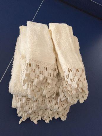 Jogo de banho toalhas turcas beje TORRES NOVAS com rendas