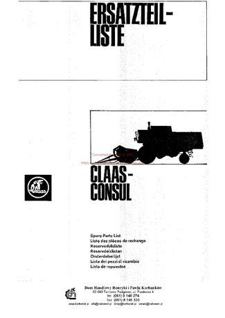 Katalog części kombajn claas Consul