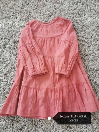 Różowa sukienka z falbanką Zara 104
