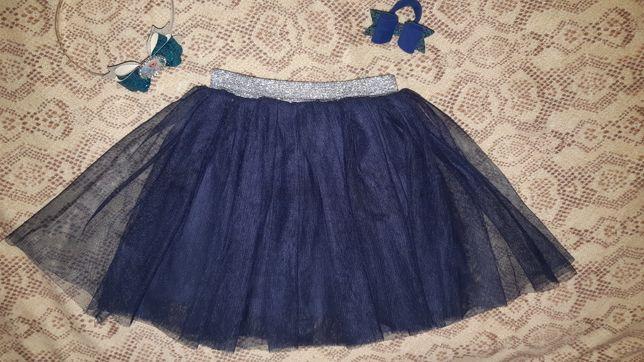 Пышная юбка-пачка с серебрянной отделкой на 3-4года