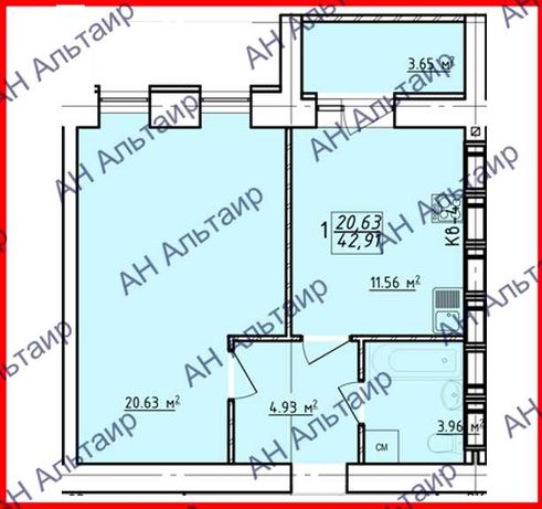 ЖК Левада - 2 Продам 1 ком квартиру 43 м² (два окна) СРЕДНИЙ ЭТАЖ! F