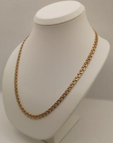 Nowy złoty łańcuszek, splot Garibaldi. Pełny, Pr. 585/14k. Dł. 55cm