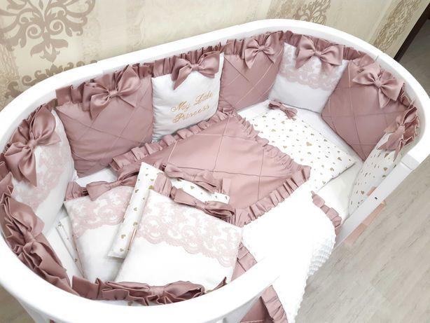 Набор постельного и бортики в детскую кроватку, детское постельное