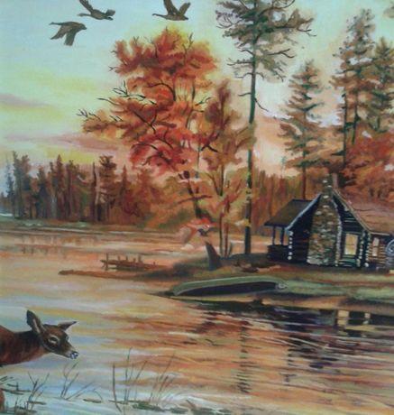 Катина маслом від автора.живопис пейзаж озеро мисливська тема