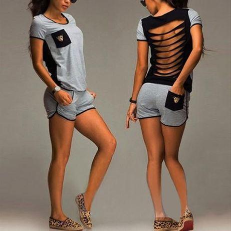 Модный женский костюм футболка +шорты