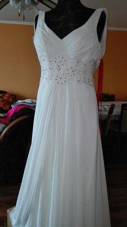 Sukienka ślubna roz 42 wzrost 179cm+6cm obcas kreacja Żannet +gratis