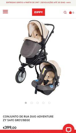 Conjunto Carrinho bebé até 22 kgs + ovinho/cadeira grupo 0+ Zippy