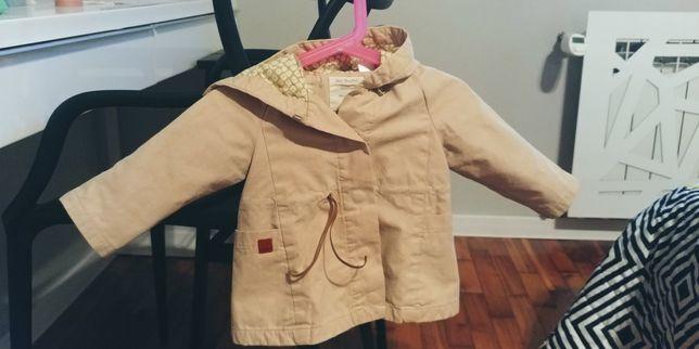 Piękny płaszczyk kremowy Zara baby girl 9-12 miesięcy, 80cm