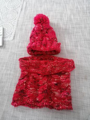 Komin z czapka kolor czerwony r. 116