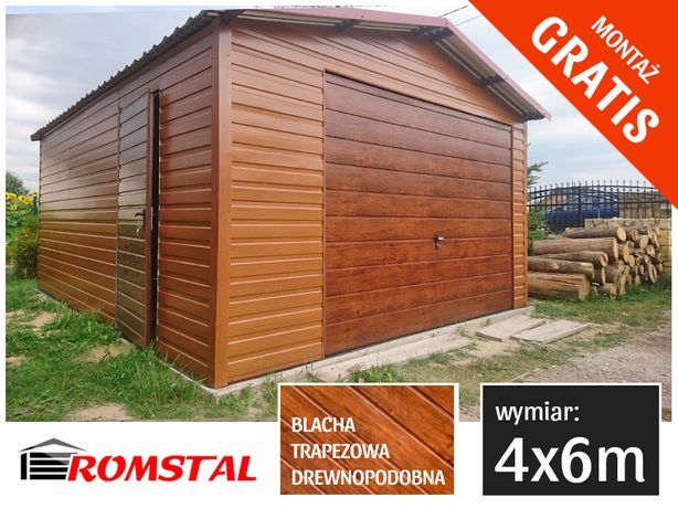 Garaż blaszny DREWNOPODOBNY 4x6m blacha pozioma - RomStal Garaże