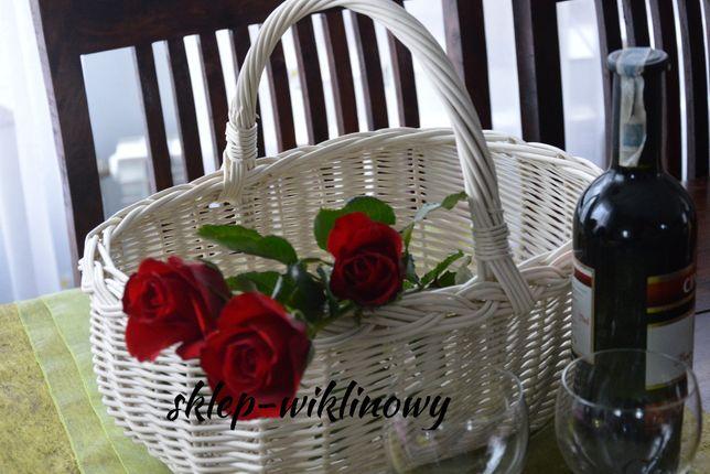 Biały koszyk wiklinowy na kwiaty/ zakupy/ Kosz dekoracyjny.