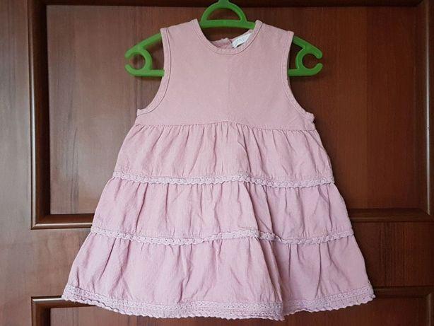Sukienka Sztruksowa Różowa h&m rozmiar 74 top