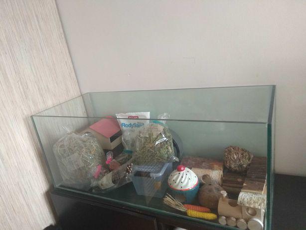 Akwarium 100x40x40 dla chomika/gryzonia z asortymentem