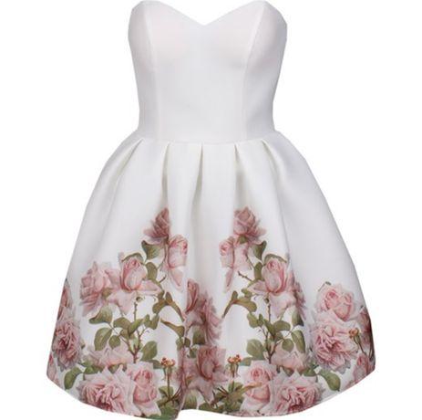Sukienka wesele biała kwiaty 34 xs