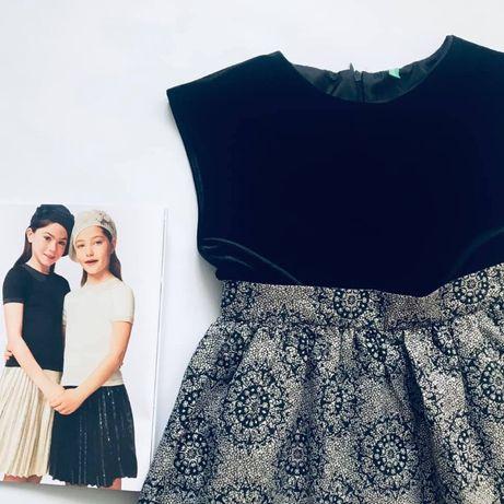 платье BENETTON бархат и парча, есть болеро 134-140