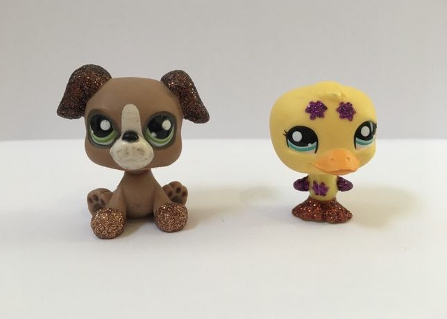 LPS Littlest Pet Shop - brokatowa figurka piesek i kaczuszka