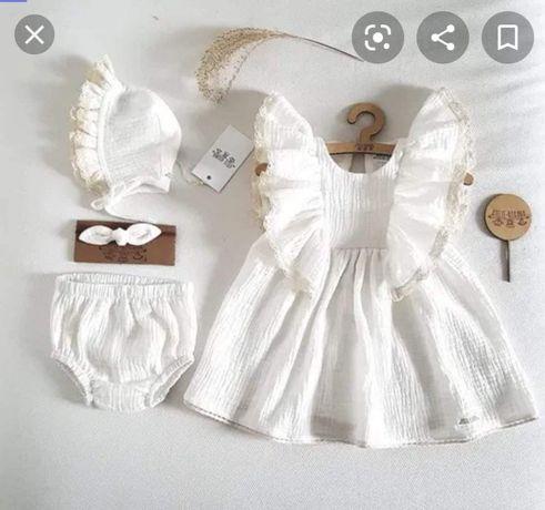 Komplet muślinowa sukienka do chrztu rozmiar 68 Atelie Roxana