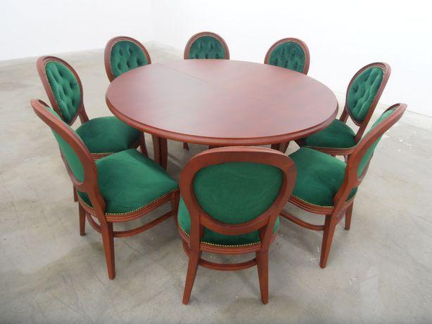 Stół okrągły bukowy 150 x 350 rozkładany 8 Nóg i 10 krzeseł