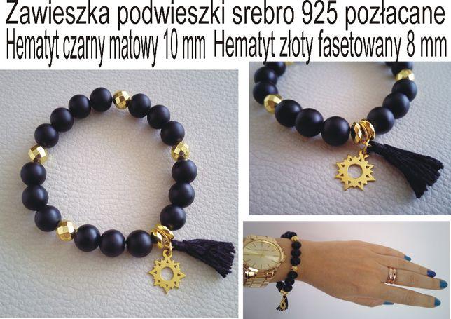 bransoletka z czarnego onyksu/złotego hematytu i srebra 925 pozłacane