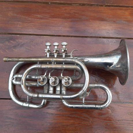 ретро духовой инструмент Корнет труба латунь в никеле