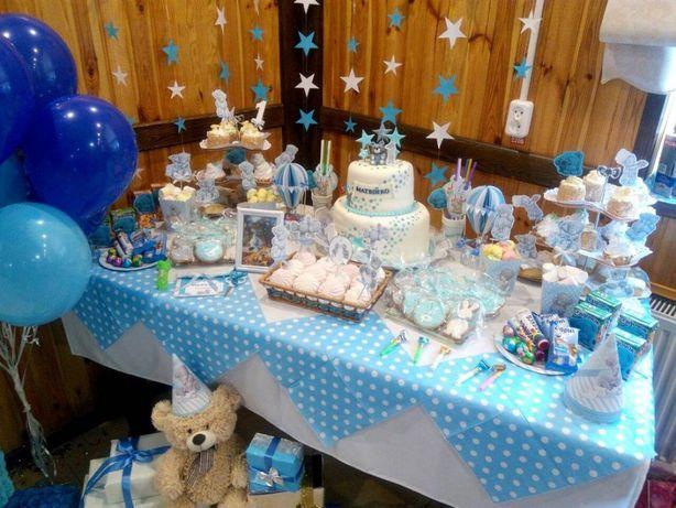 """Декор на день рождения""""Мишка Тедди""""(гирлянда,шарики, скатерть, баннер)"""