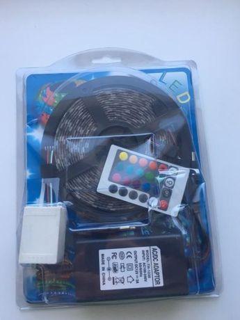 Світлодіодна стрічка з пультом і блоком живлення LED 5050 RGB 5м
