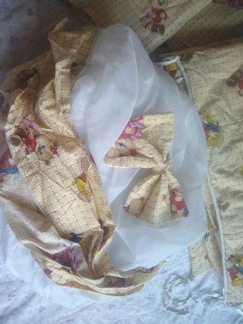 Срочно продам набор детского постельного с защитой и балдахином