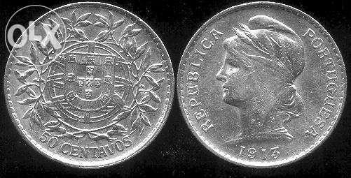 50 Centavos em Prata de 1913