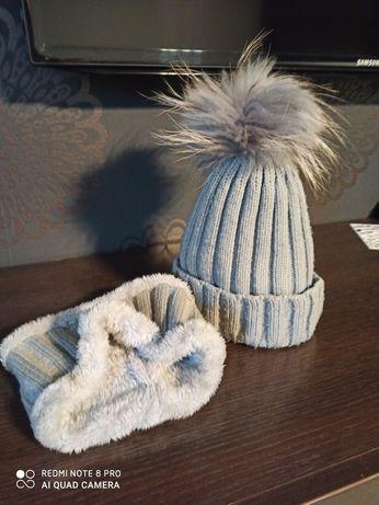 Zestaw czapka + komin na zimę