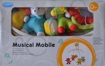 Музыкальный мобиль карусель на кроватку Lindo с мягкими игрушками