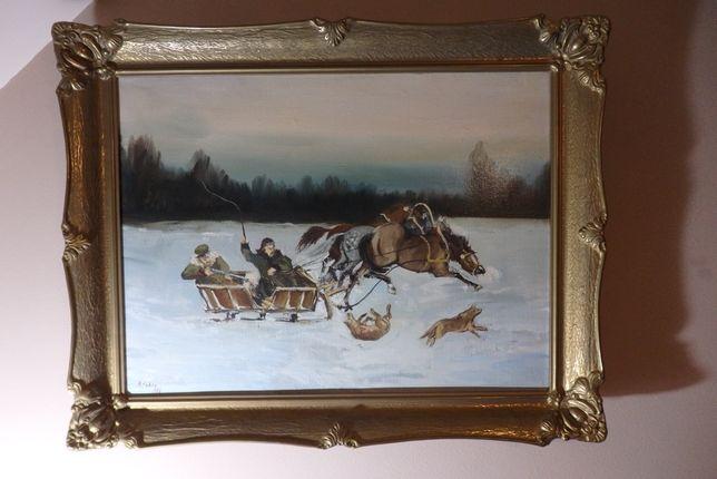 Obraz Jacka Taszyckiego 60 x 80 cm, Pędzący zaprzęg