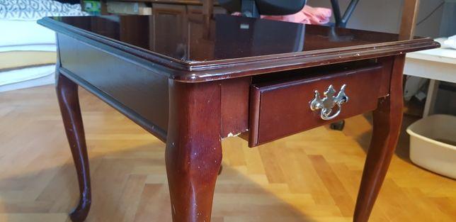 Stó,ł Stolik z szufladką, komódka do renowacji, drewno, vintage design