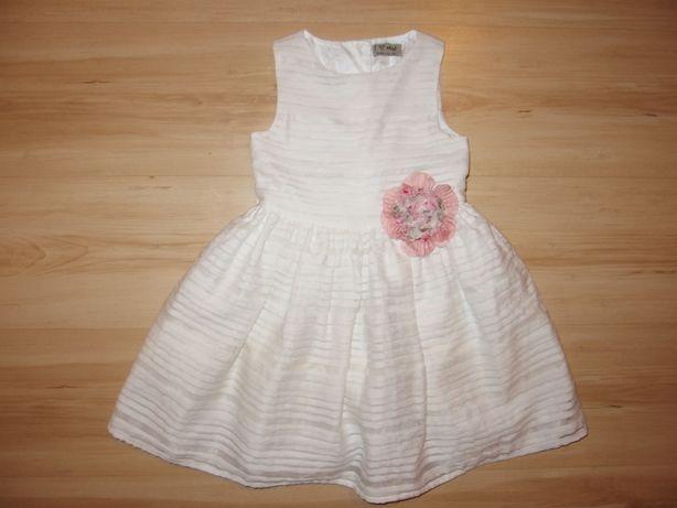 NEXT biała wizytowa dziewczęca sukienka dziecięca na wesele 3 lata 98