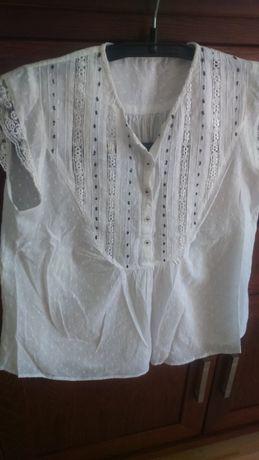 Bluzka bawełniana biała z koronką bez rękawów ,na guziki-ciążowa L-XL