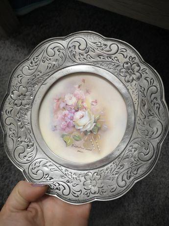 Prato de Porcelana e Estanho Grão Vasco