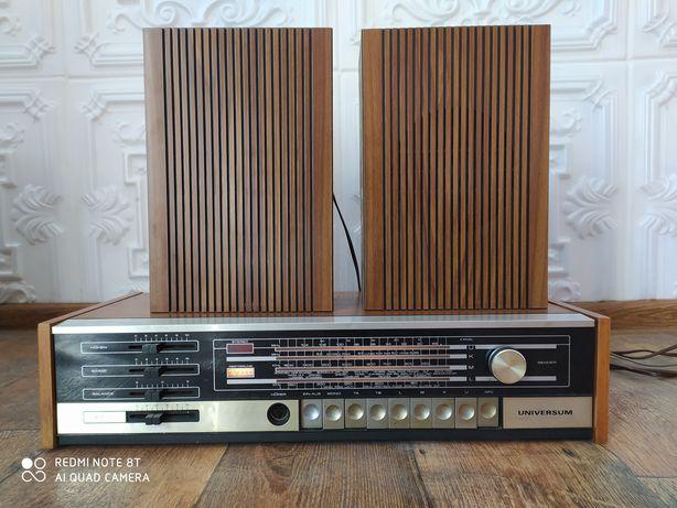 Uniwersum stereo radio odtwarzacz + głośniki kolumny retro vintage