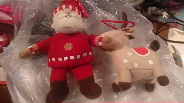 игрушка дед мороз и олень лось лот две игрушки небольшие фирменные