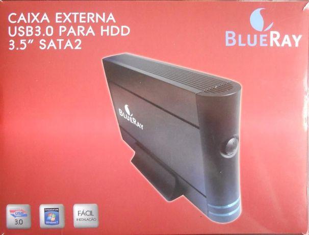"Caixa Externa USB 3.0 para disco duro 3.5"" SATA 2"