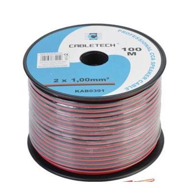 Kabel głośnikowy 1.0mm czarno-czerwony 100m