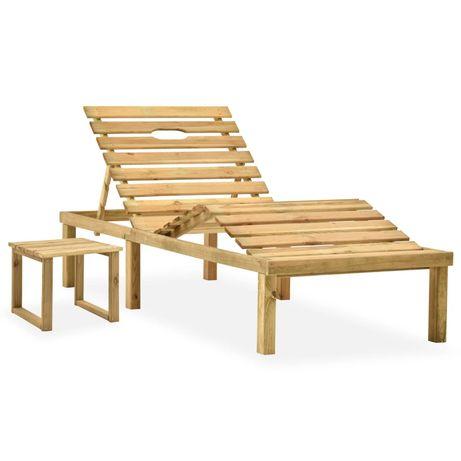 vidaXL Espreguiçadeira de jardim com mesa madeira de pinho impregnada 315397