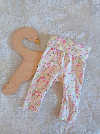 H&M baby spodnie legginsy 62cm wzór w kwiaty boho gumka w pasie